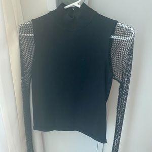 FINAL SALE Fishnet sleeve shirt